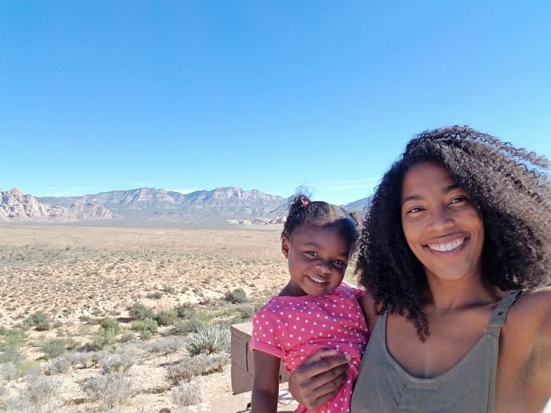 mom holding daughter at red rock canyon