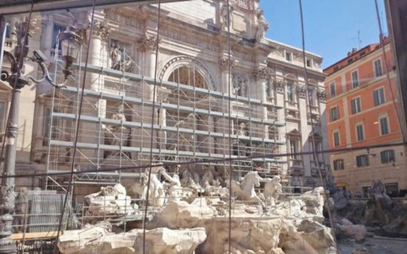 fountain under construction