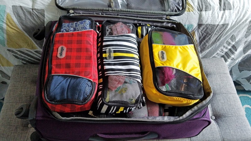 suitcase packing using packing cubes