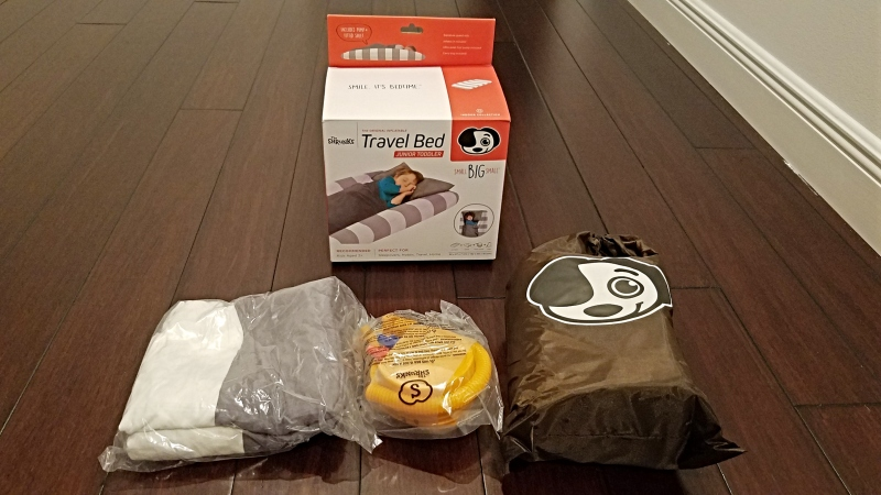 contents of package for kids blow up mattress