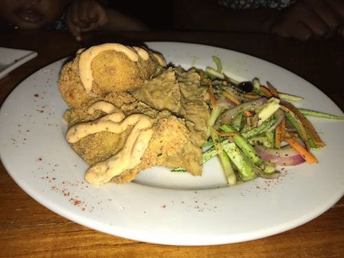 plate of food with fried fish