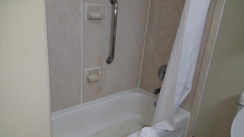 bathroom of a hotel room