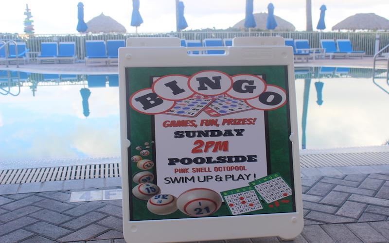 Bingo Sign at resort pool