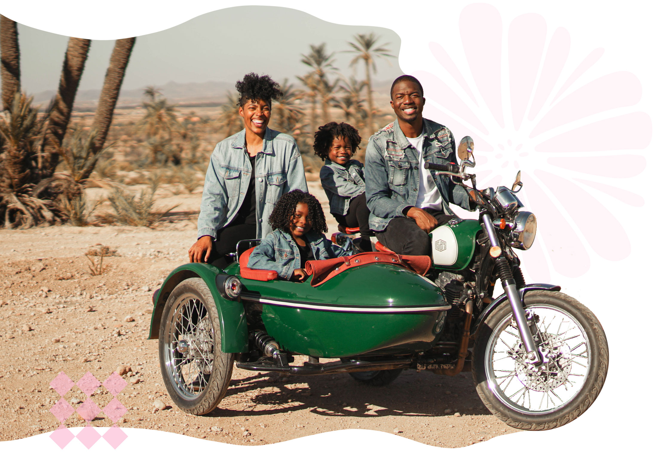 Hambrick's family picture riding a motorcycle with a sidecart for the kids!