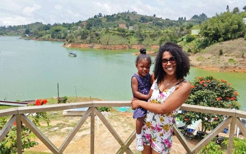 mom holding daughter in Medellin