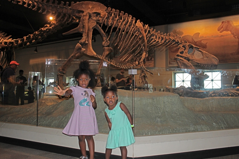 two young black girls at the museum standing in front of a dinosaur display