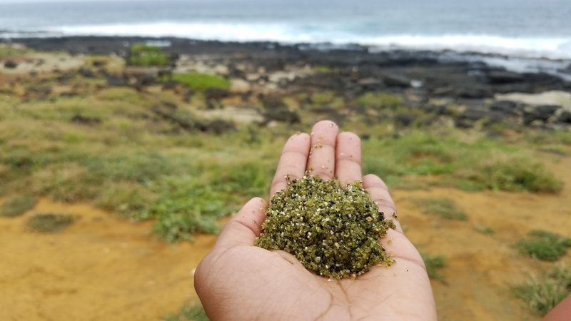 woman holding green sand in her hand