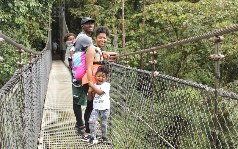 family on mistico hanging bridge