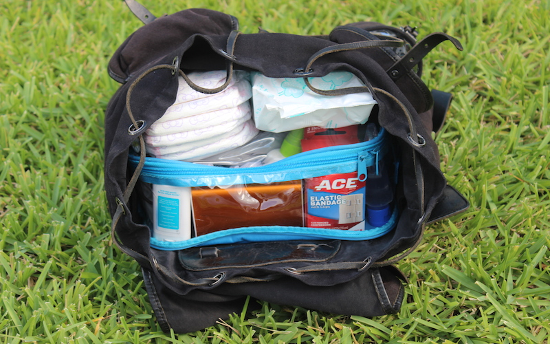 backpack with diapers, wipes, and ACE elastic bandage