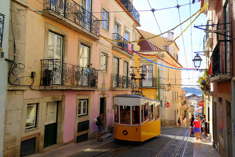 streetcar on the road in Lisbon