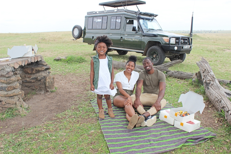 family having a picnic in Kenya