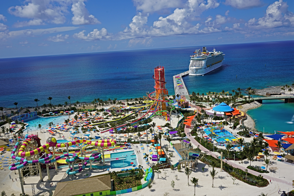 aerial view of CocoCay island in the Bahamas