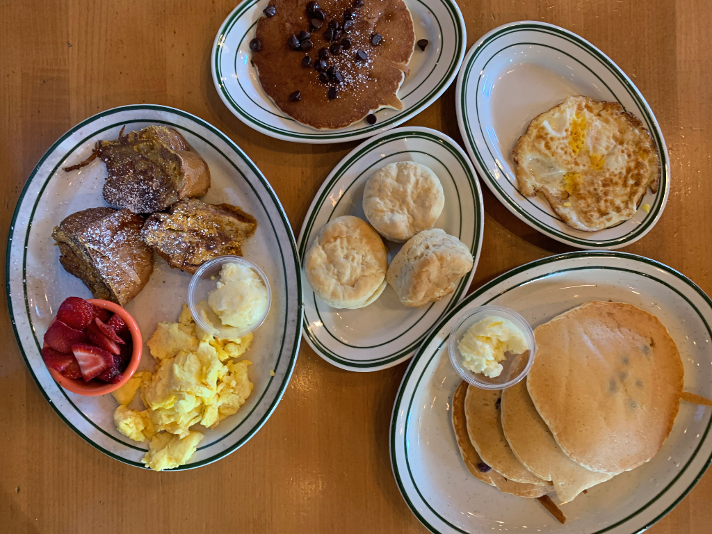 pancakes, french toast, eggs, biscuits