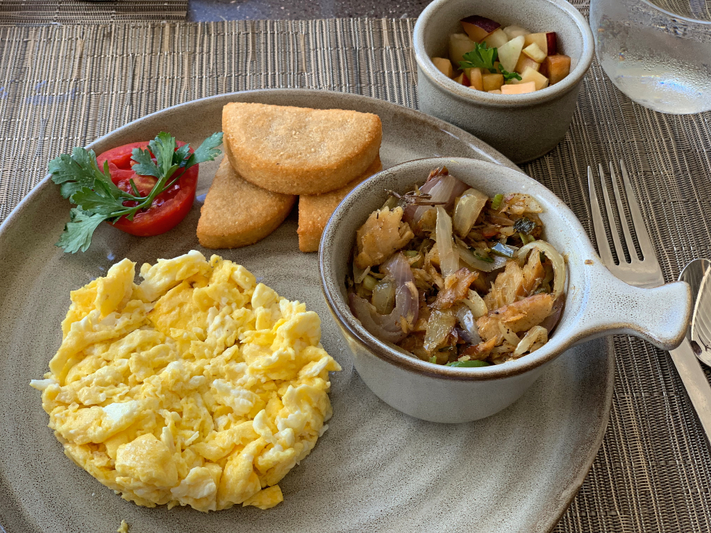 plate with eggs, bammy, and saltfish