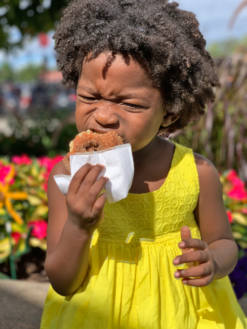 Little girl biting into an apple cider donut after visiting the farmers market in door county, wi.