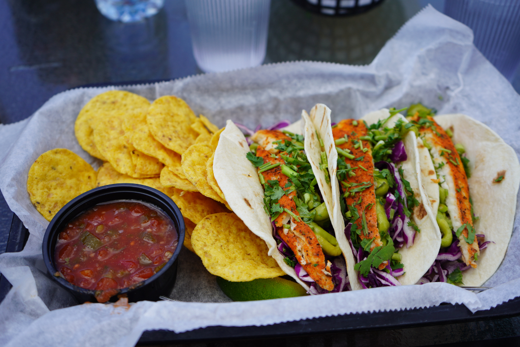 Fish tacos served with chips and salsa from Fred & Fuzzy's in Door county