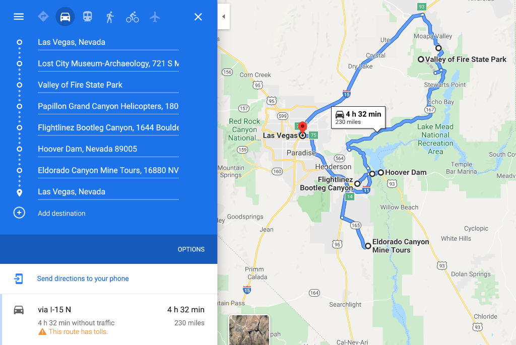 map outlining nevada road trip with various stops and the amount of time and mileage for the trip