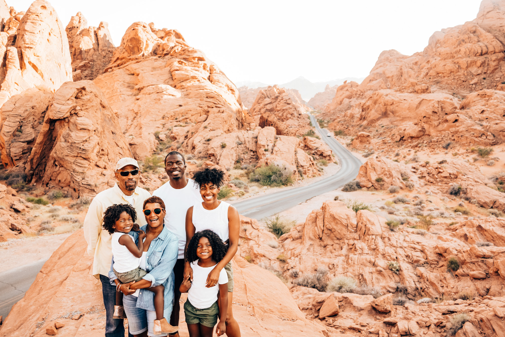 family of 6 standing on a rock overlooking a road in Valley of Fire State Park on their Nevada road trip