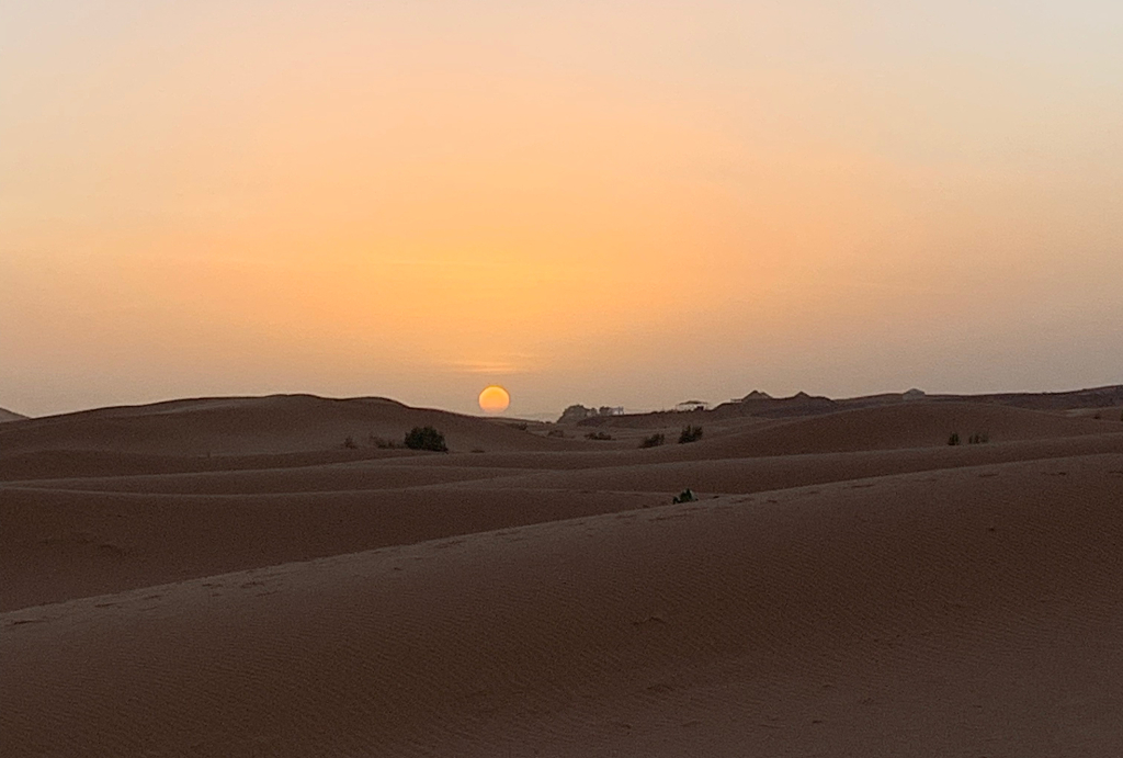 sun setting over the sand dunes in the sahara desert