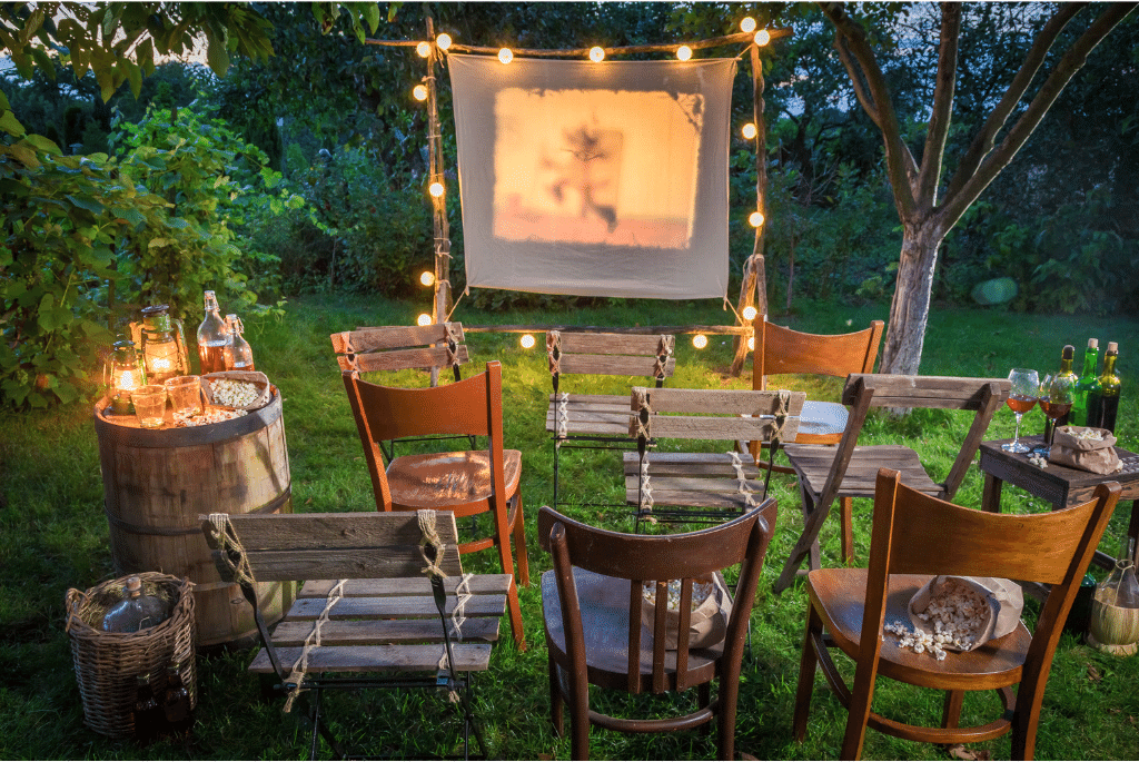 outdoor backyard movie night perfect for a low-key spring break staycation at home with the family