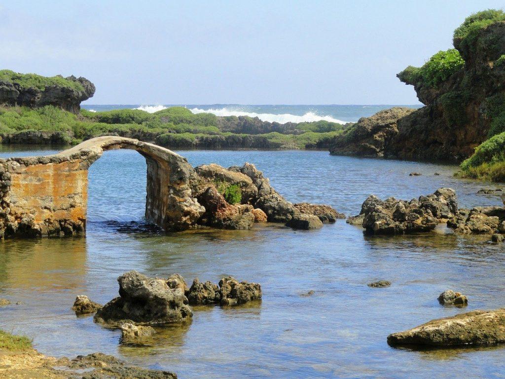 Rocky ocean landscape in guam.