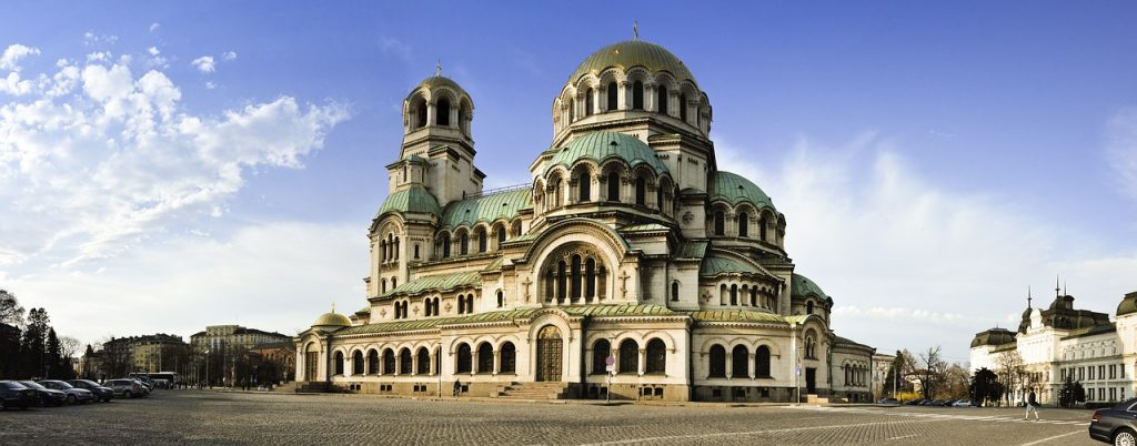 A beautiful cathedral sites in the city of Sofia Bulgaria